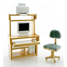 Computer PC Desk Chair Printer Set Dollhouse Furniture
