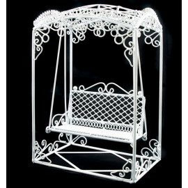 White Wire Rocking Chair Bench Seat Dollhouse Furniture