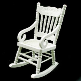 White Wood Nursery Rocking Armchair Dollhouse Furniture