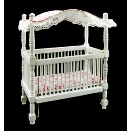 White Nursery Baby Room Canopy Crib Dollhouse Furniture
