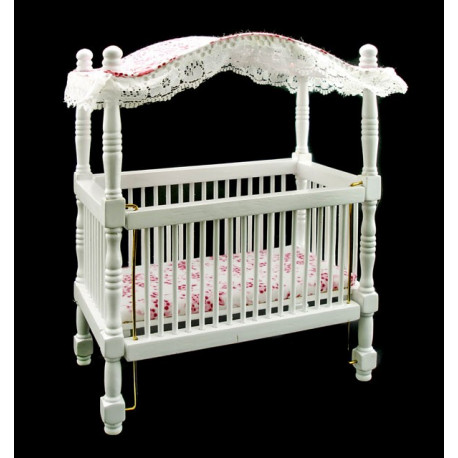 Amazing White Nursery Baby Room Canopy Crib Dollhouse Furniture
