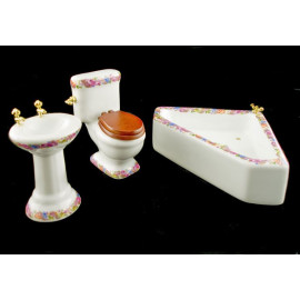 Porcelain Bathroom Sink Tank Tub Dollhouse Furniture