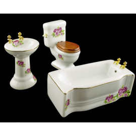 Set Porcelain Bathroom Sink Tank Dollhouse Furniture