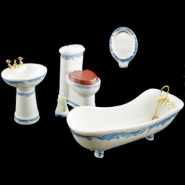 Set Porcelain Bathroom Tank Bathtub Dollhouse Furniture