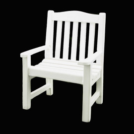 White Wood Outdoor Single Arm Chair Dollhouse Furniture