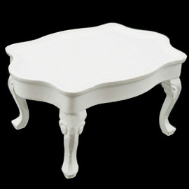 White Victorian Queen Ann Table Dollhouse Furniture