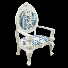 White Victorian Queen Ann Arm Chair Dollhouse Furniture