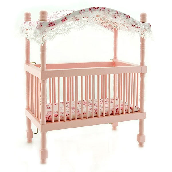 ... Furnitures > Pink Nursery Baby Room Canopy Crib Dollhouse Furniture