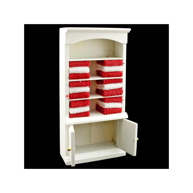 white bathroom cabinet w red towels dollhouse furniture