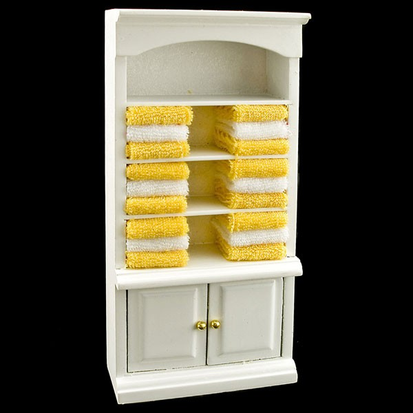 Bathroom Cabinets For Towels white bathroom cabinet yellow towel dollhouse furniture