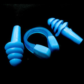 Swimming Nose Clip and Ear Plug Earplug (BLUE)