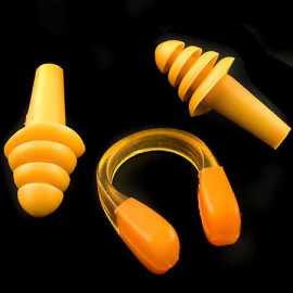 Swimming Nose Clip and Ear Plug Earplug (ORANGE)