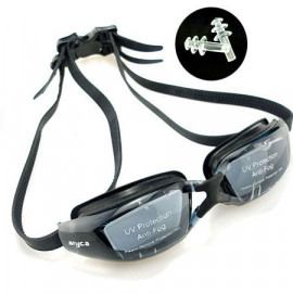 UV Protect Silicone Swimming Goggles w/ earplug BLACK