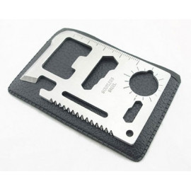 Pocket Multi-Tools Function Steel Card with Leather Case