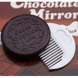 Chocolate Cookies Makeup Tools Face Compact Mirror Comb