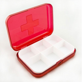 Red 6 Day Medicine Pill Drug Box Case Pillbox Organizer