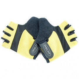 Gel Padded Palm Half Finger Cycling Gloves YELLOW