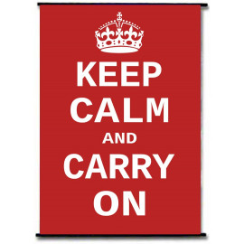 Keep Calm And Carry On WWII Red Fabric Wallscroll Poster