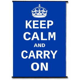 Keep Calm And Carry On WW2 Blue Rods Wall Scroll Poster