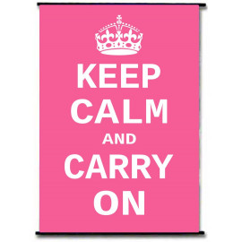 Keep Calm And Carry On Pink Vintage Wall Scroll Poster