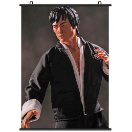 Bruce Lee Li Xiaolong Statue Fabric Wall Scroll Poster