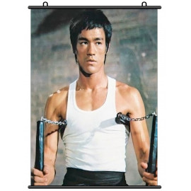 Bruce Lee Nunchaku Kung Fu Fabric Wall Scroll Poster