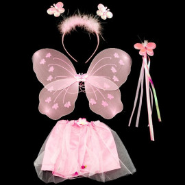 Set Toddler Girl Pink Skirt Wing Mace Halloween Costume