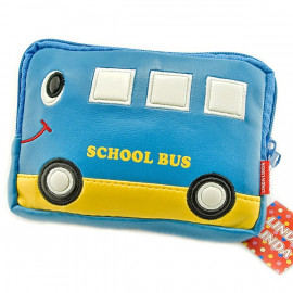 Japanese Kids New Blue School Bus Wallet Waist Belt Bag