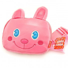 Japanese Kids Girl 3D Pink Rabbit Wallet Waist Belt Bag