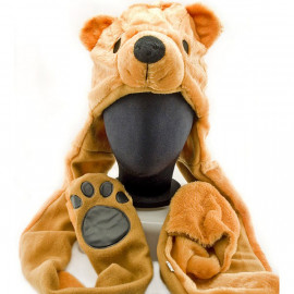 Brown Polar Bear Mascot Fancy Costume Fur Hat Cap with Gloves