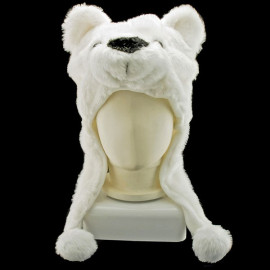 Polar Bear Mascot Plush Fancy Dress Costume Fur Hat Cap