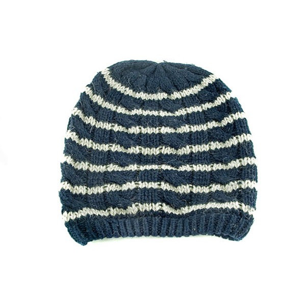 Unisex Striped Cable Knitted Beanie (DARK BLUE)
