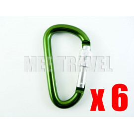 6x Screwgate D-Shaped Carabiner (7.0)