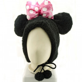 Black Mouse Bow Mascot Fancy Dress Costume Warmer Fur Hat