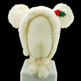 White Mouse Bow X'Mas Fancy Dress Costume Warmer Fur Hat