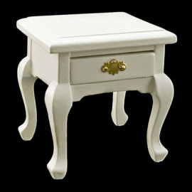 White Queen Ann Bedroom Nightstand Dollhouse Miniature