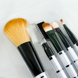 5in1 Cosmetic Brush Set (Medium) (BLACK & WHITE)