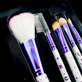 5in1 Cosmetic Brush Set (Small) (PURPLE & WHITE)