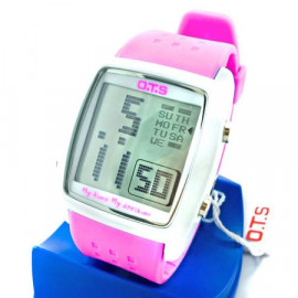 OTS Digital Sports Watch 6336 White Display (HOT PINK)