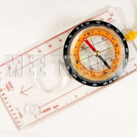 Protractor Liquid-filled Camping Compass with Ruler