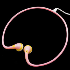 Pink 3.5mm Earbuds Sports Behind The Neck Headphones