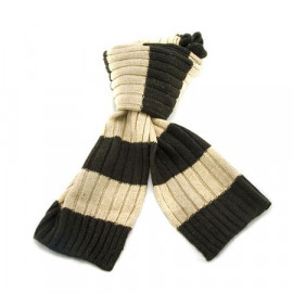2 Coloured Stripe Scarf (DARK BROWN & LIGHT BROWN)