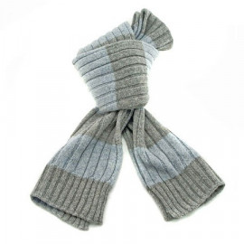 2 Coloured Stripe Scarf (GRAY & LIGHT BLUE)