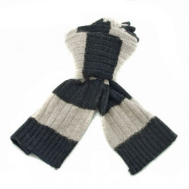 2 Coloured Stripe Scarf (BLACK & LIGHT BROWN)