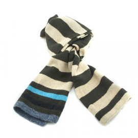 Mini Coloured Stripe Scarf (DARK BROWN & LIGHT BROWN)