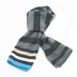 Mini Coloured Stripe Scarf (BLACK & GRAYISH BLUE)