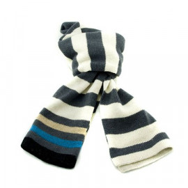 Mini Coloured Stripe Scarf (BEIGE & GRAY)