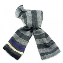 Mini Coloured Stripe Scarf (DARK GRAY & LIGHT GRAY)