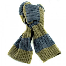 2 Coloured Stripe Scarf (GREEN & GRAY)