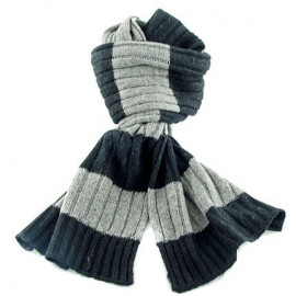 2 Coloured Stripe Scarf (BLACK & GRAY)